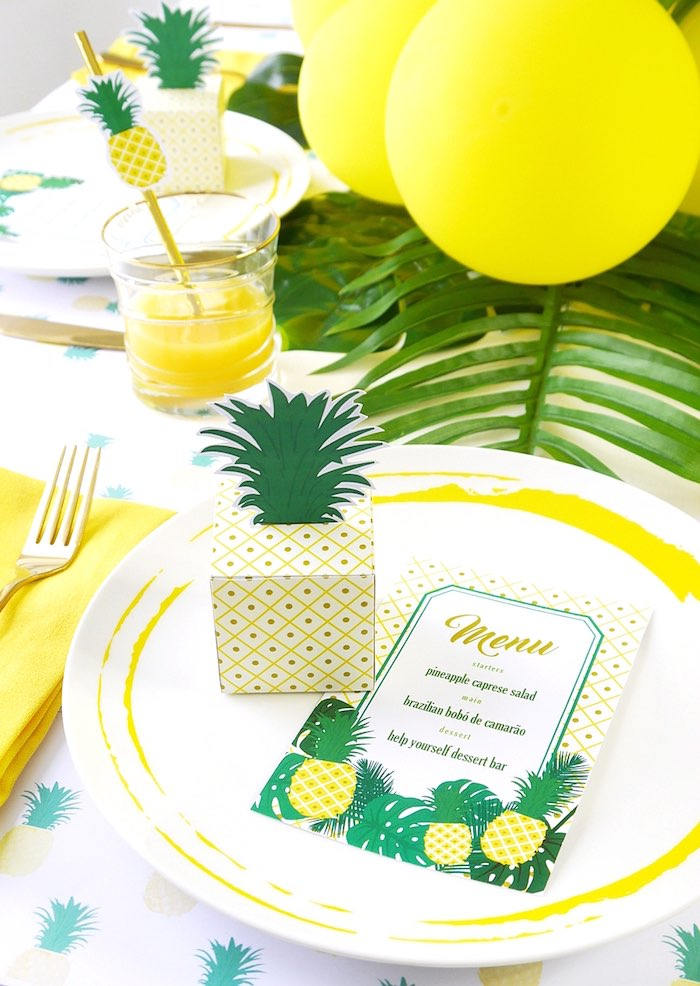 Pineapple party box and invitation from a Pineapple Birthday Party via Kara's Party Ideas KarasPartyIdeas.com (8)