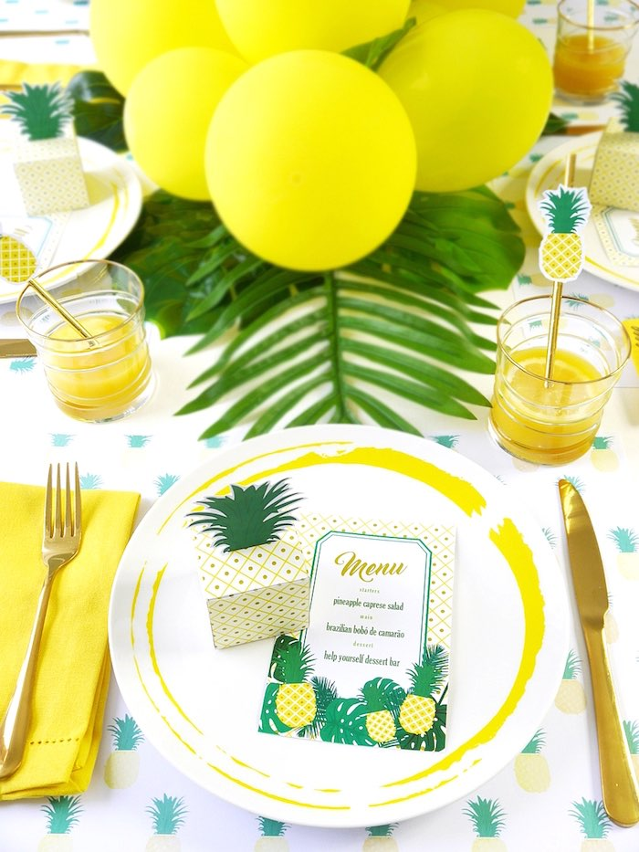 Place setting from a Pineapple Birthday Party via Kara's Party Ideas KarasPartyIdeas.com (5)