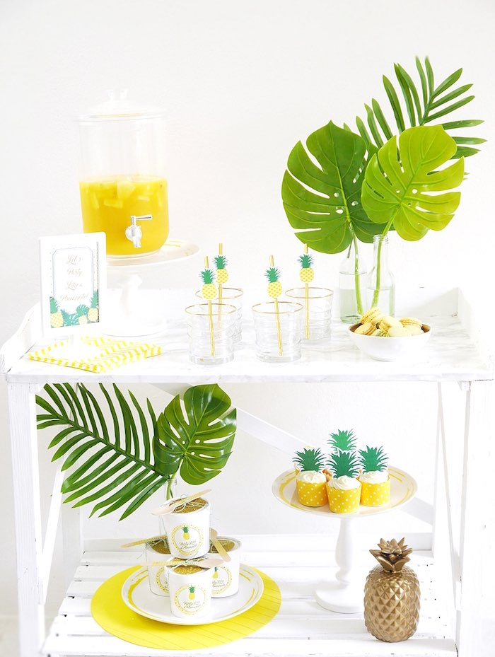 Pineapple party table from a Pineapple Birthday Party via Kara's Party Ideas KarasPartyIdeas.com (29)