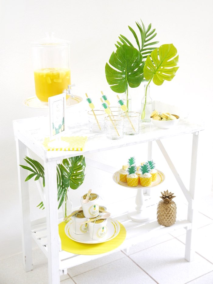 Pineapple party table from a Pineapple Birthday Party via Kara's Party Ideas KarasPartyIdeas.com (28)