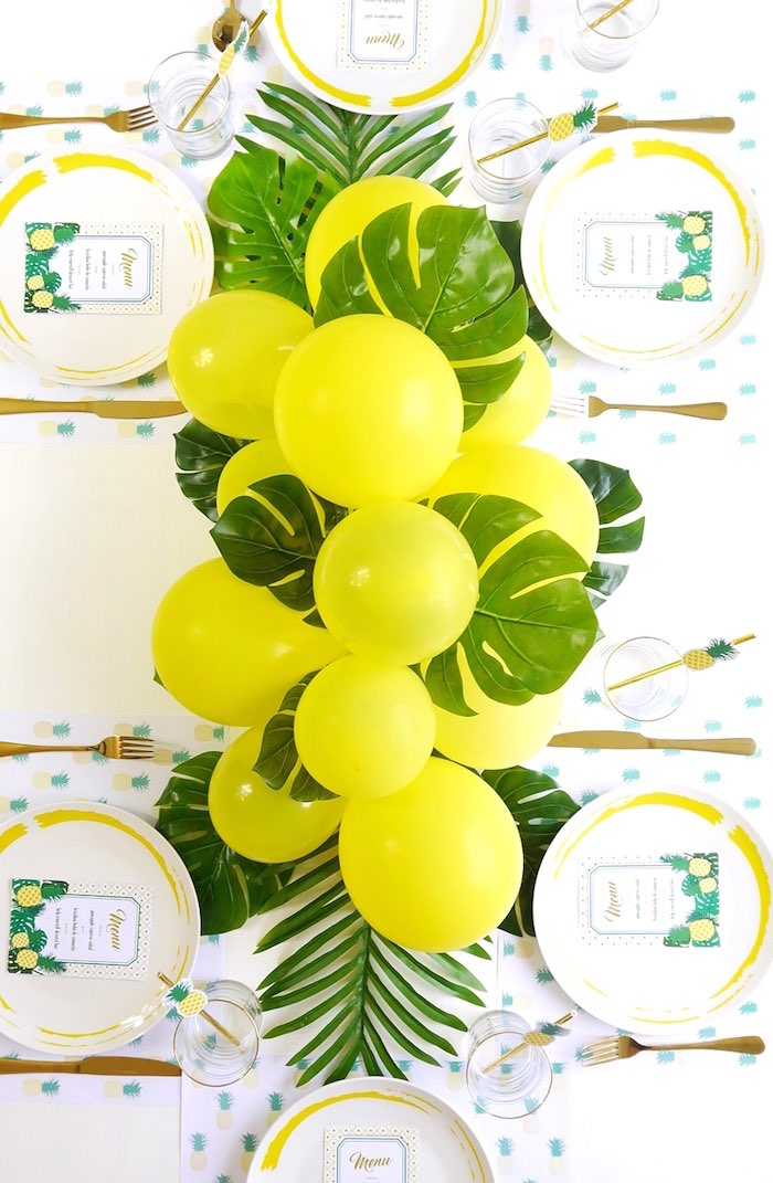 Balloon garland + party tabletop from a Pineapple Birthday Party via Kara's Party Ideas KarasPartyIdeas.com (26)