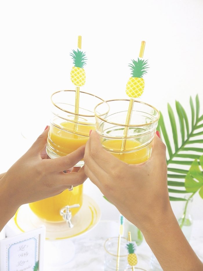 Toasting from a Pineapple Birthday Party via Kara's Party Ideas KarasPartyIdeas.com (25)