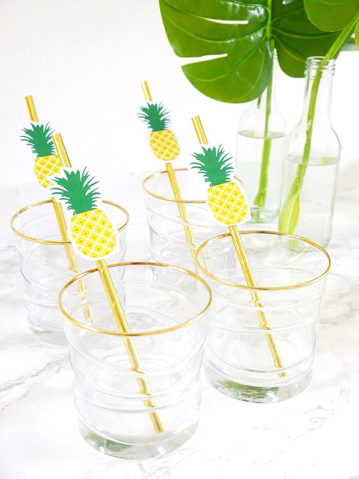 Gold rimmed glasses with pineapple straws from a Pineapple Birthday Party via Kara's Party Ideas KarasPartyIdeas.com (24)