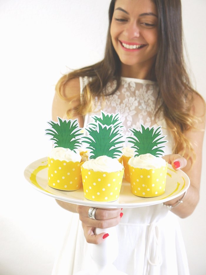 Pineapple cupcakes from a Pineapple Birthday Party via Kara's Party Ideas KarasPartyIdeas.com (23)