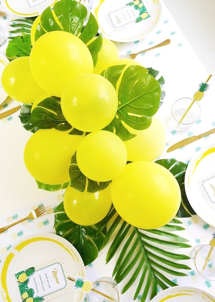 Balloon garland from a Pineapple Birthday Party via Kara's Party Ideas KarasPartyIdeas.com (22)