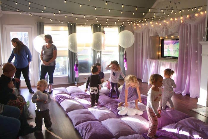 Twinkling movie night party spread from a Popcorn & Pajamas Purple Movie Night via Kara's Party Ideas | KarasPartyIdeas.com (28)