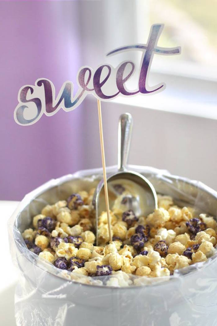 Sweet popcorn from a Popcorn & Pajamas Purple Movie Night via Kara's Party Ideas | KarasPartyIdeas.com (27)