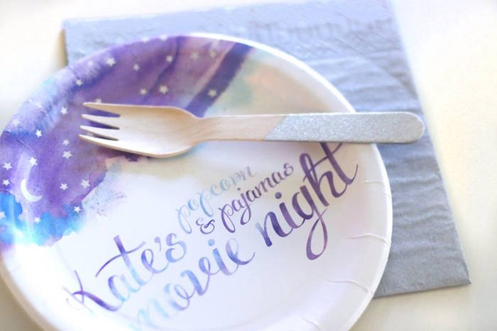 Custom purple sky partyware from a Popcorn & Pajamas Purple Movie Night via Kara's Party Ideas | KarasPartyIdeas.com (22)