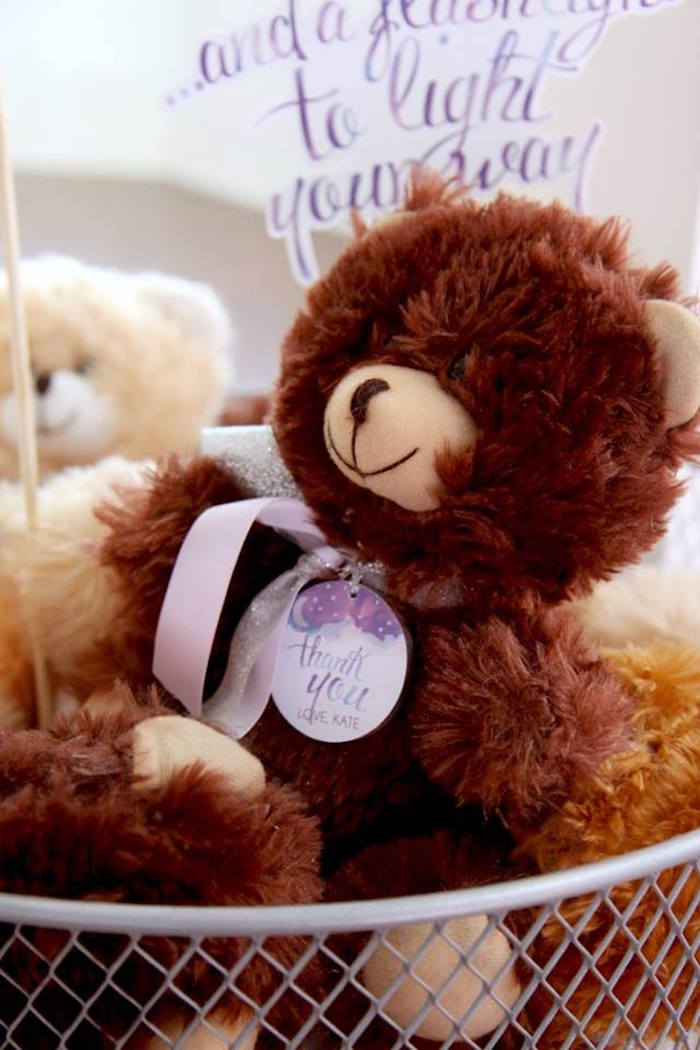 Teddy bear favor from a Popcorn & Pajamas Purple Movie Night via Kara's Party Ideas | KarasPartyIdeas.com (39)