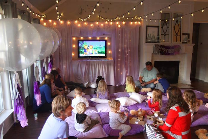 Movie night party spread from a Popcorn & Pajamas Purple Movie Night via Kara's Party Ideas | KarasPartyIdeas.com (17)