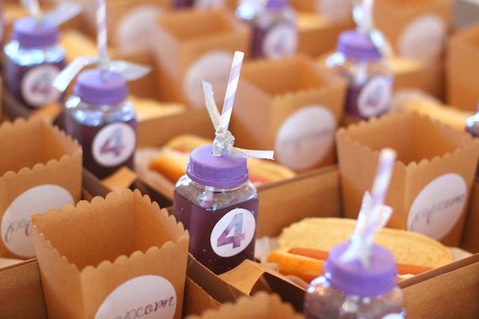 Food + drinks from a Popcorn & Pajamas Purple Movie Night via Kara's Party Ideas | KarasPartyIdeas.com (16)
