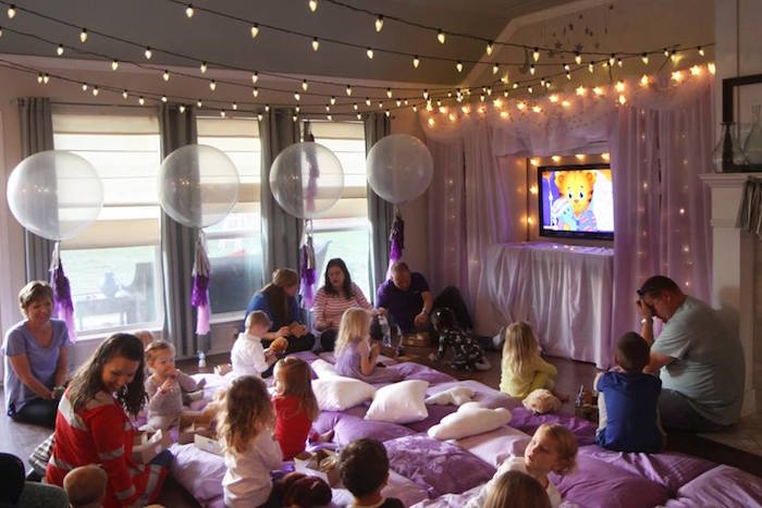 Movie time + twinkling partyscape from a Popcorn & Pajamas Purple Movie Night via Kara's Party Ideas | KarasPartyIdeas.com (38)