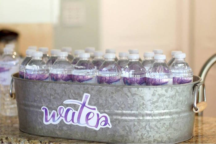 Water bin from a Popcorn & Pajamas Purple Movie Night via Kara's Party Ideas | KarasPartyIdeas.com (7)