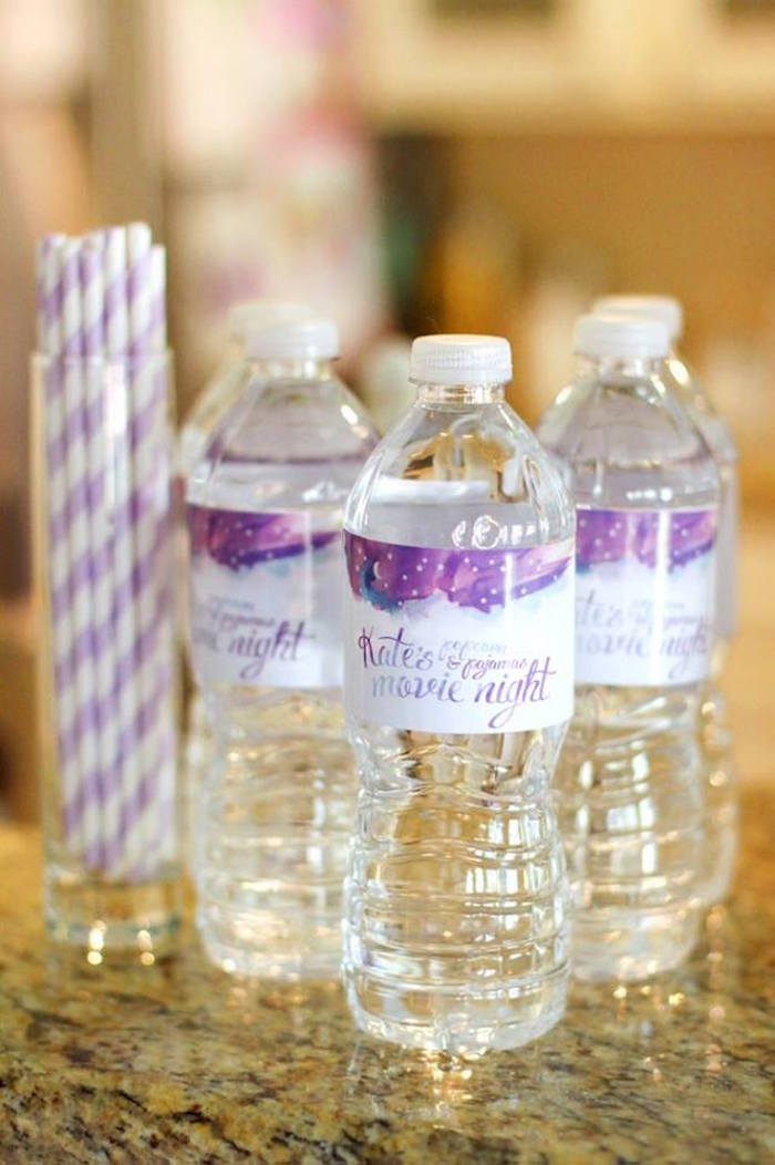 Water bottles from a Popcorn & Pajamas Purple Movie Night via Kara's Party Ideas | KarasPartyIdeas.com (4)