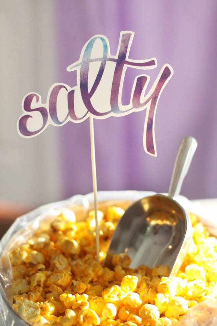 Salty popcorn choice from a Popcorn & Pajamas Purple Movie Night via Kara's Party Ideas | KarasPartyIdeas.com (32)