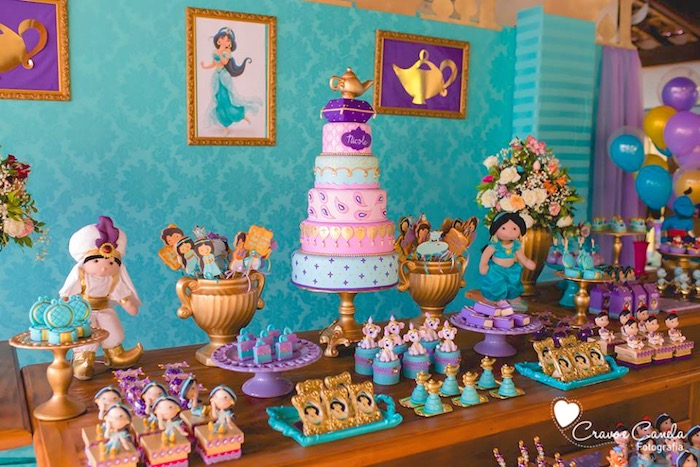 Kara 39 s party ideas colorful princess jasmine birthday for Aladdin decoration ideas