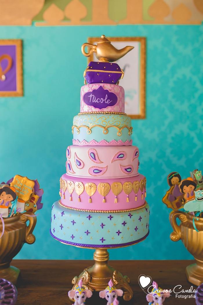 Karas Party Ideas Aladdin birthday cake from a Princess Jasmine