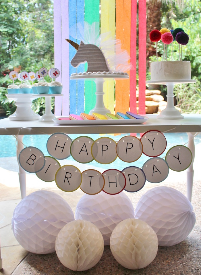 Kara 39 s party ideas sparkly rainbow unicorn birthday party for 13 ka table