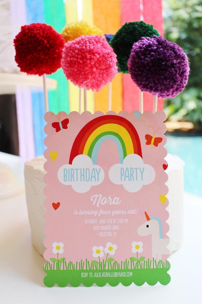Invitation From A Rainbow Unicorn Birthday Party Via Karas Ideas