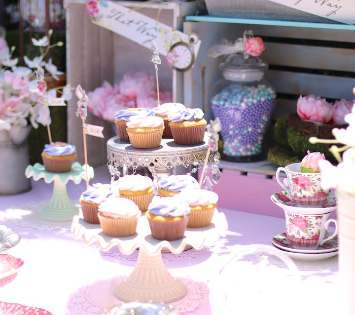 Cupcakes from a Shabby Chic Alice in Wonderland Baby Shower on Kara's Party Ideas | KarasPartyIdeas.com (4)