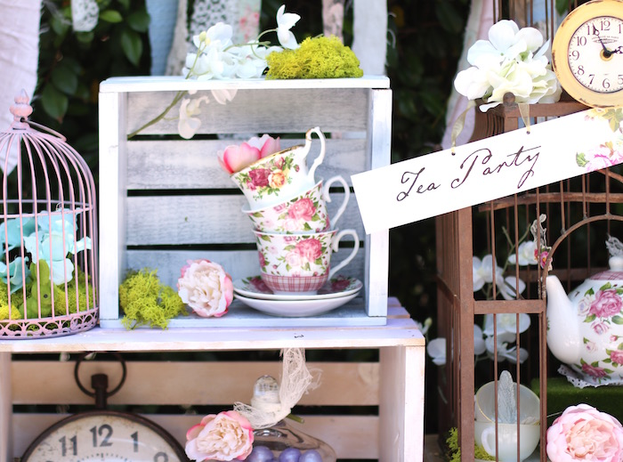 Tea Party decor from a Shabby Chic Alice in Wonderland Baby Shower on Kara's Party Ideas | KarasPartyIdeas.com (3)