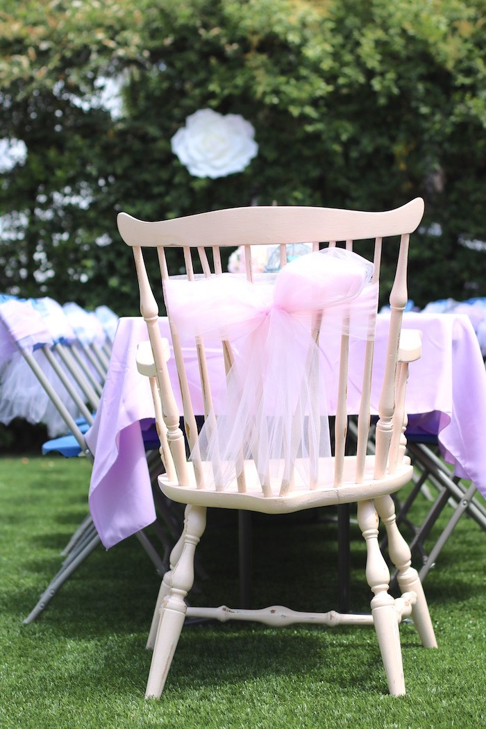 Ribbon tied chair from a Shabby Chic Alice in Wonderland Baby Shower on Kara's Party Ideas | KarasPartyIdeas.com (13)
