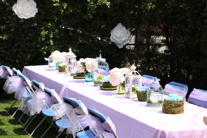 Guest table from a Shabby Chic Alice in Wonderland Baby Shower on Kara's Party Ideas | KarasPartyIdeas.com (12)