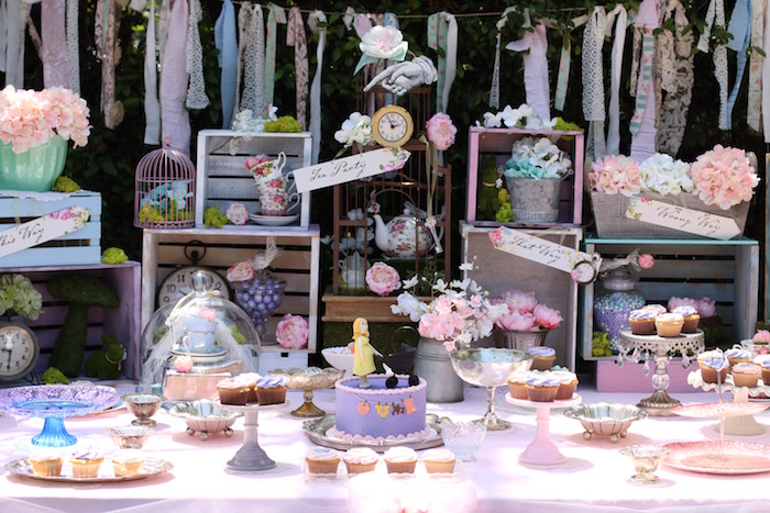 Alice in Wonderland Sweet Table from a Shabby Chic Alice in Wonderland Baby Shower on Kara's Party Ideas | KarasPartyIdeas.com (9)