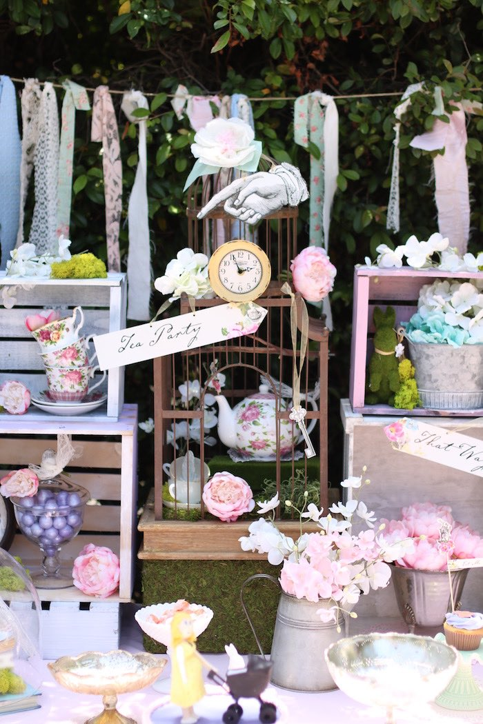 Darling decor from a Shabby Chic Alice in Wonderland Baby Shower on Kara's Party Ideas | KarasPartyIdeas.com (6)