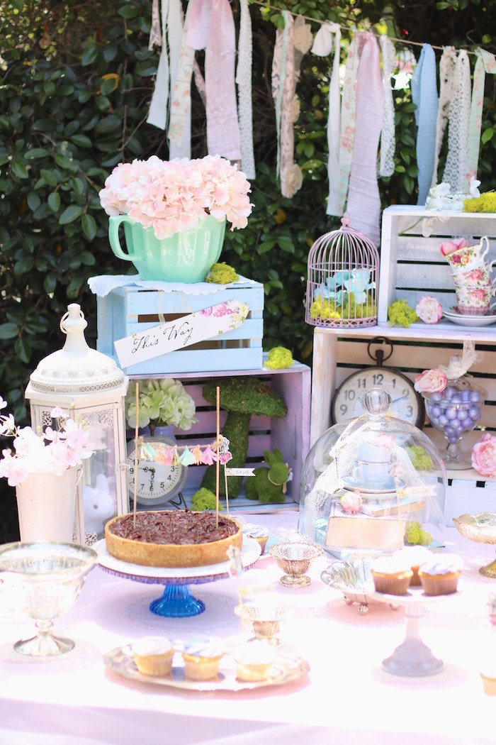 Sweet table from a Shabby Chic Alice in Wonderland Baby Shower on Kara's Party Ideas | KarasPartyIdeas.com (5)