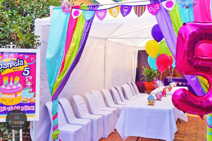 Tented area from a Shopkins Birthday Party via Kara's Party Ideas | KarasPartyIdeas.com (26)