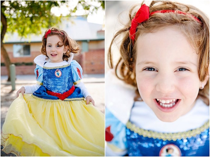 Birthday girl from a Crimson Red Snow White Birthday Party via Kara's Party Ideas | KarasPartyIdeas.com - The Place for All Things Party! (7)