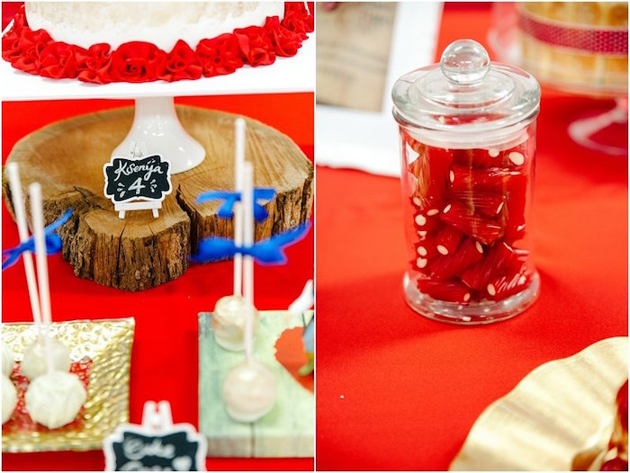 Party detail from a Crimson Red Snow White Birthday Party via Kara's Party Ideas | KarasPartyIdeas.com - The Place for All Things Party! (5)