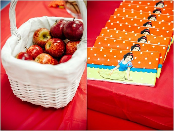 Party snacks + favors from a Crimson Red Snow White Birthday Party via Kara's Party Ideas | KarasPartyIdeas.com - The Place for All Things Party! (4)