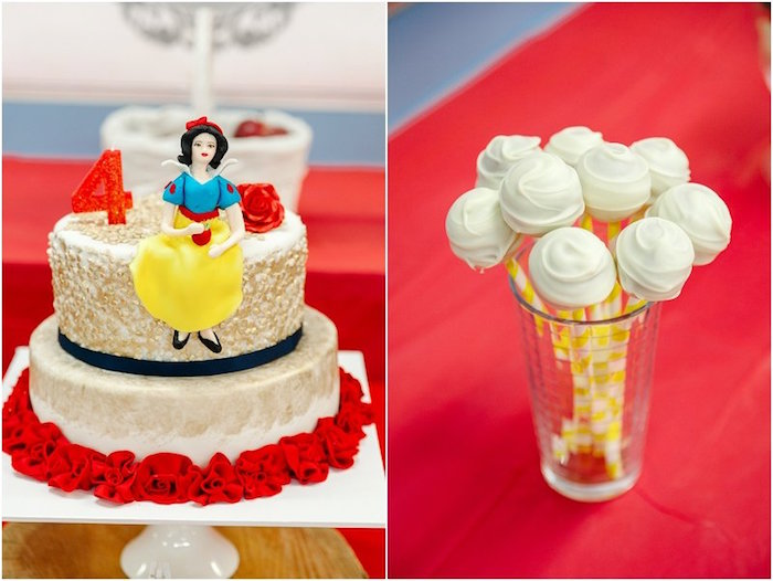 Cake + cake pops from a Crimson Red Snow White Birthday Party via Kara's Party Ideas | KarasPartyIdeas.com - The Place for All Things Party! (2)