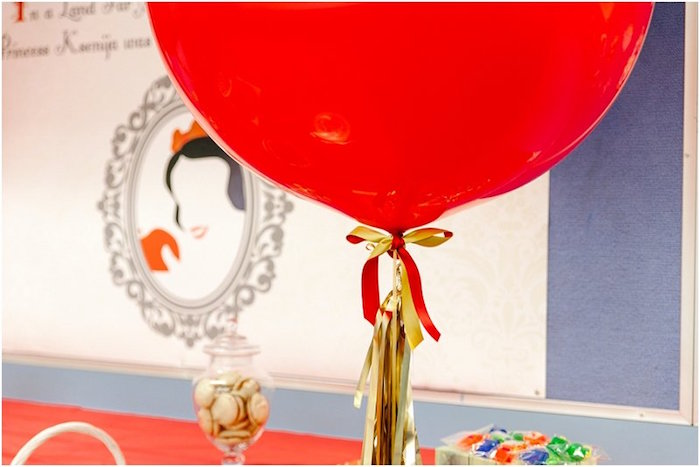 Giant red balloon from a Crimson Red Snow White Birthday Party via Kara's Party Ideas | KarasPartyIdeas.com - The Place for All Things Party! (12)