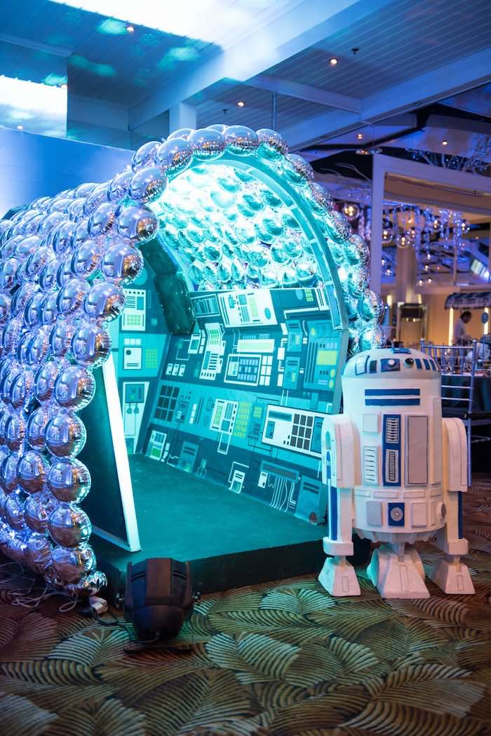 Spaceship hanger from a Star Wars Birthday Party via Kara's Party Ideas | KarasPartyIdeas.com (23)