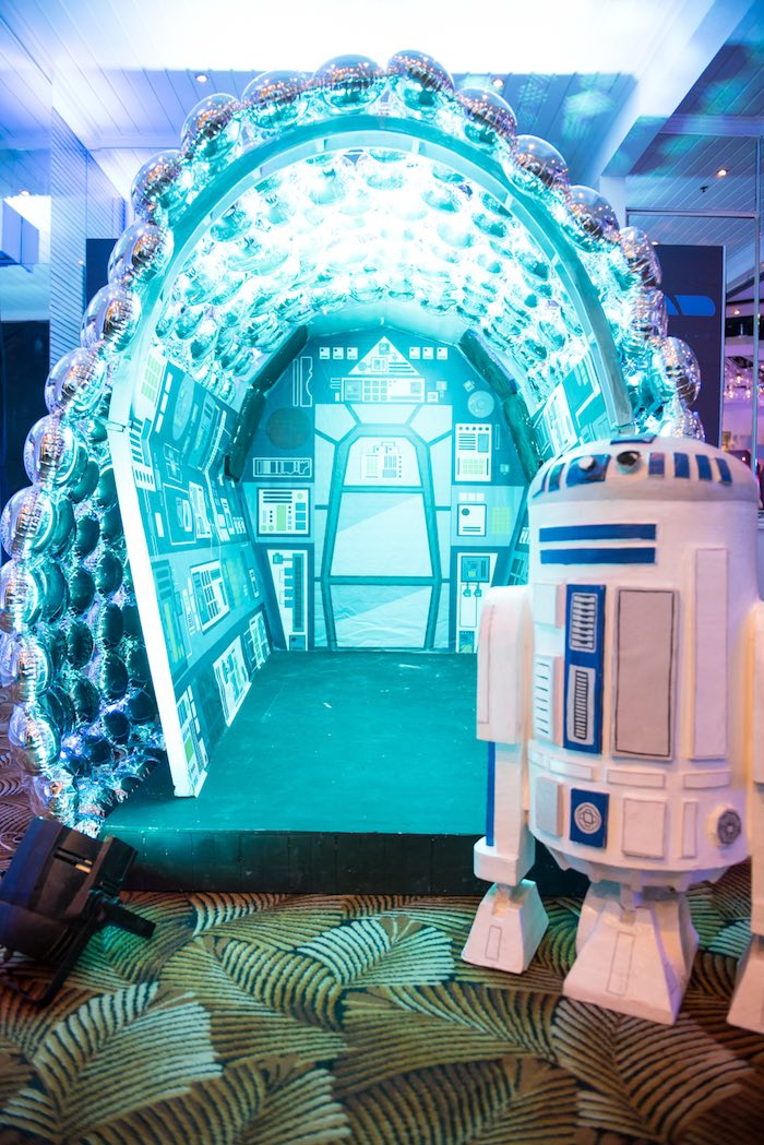 Spaceship hanger from a Star Wars Birthday Party via Kara's Party Ideas | KarasPartyIdeas.com (22)