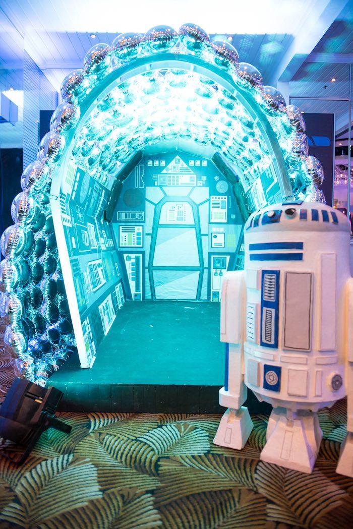 Spaceship hanger from a Star Wars Birthday Party via Kara's Party Ideas | KarasPartyIdeas.com (22)
