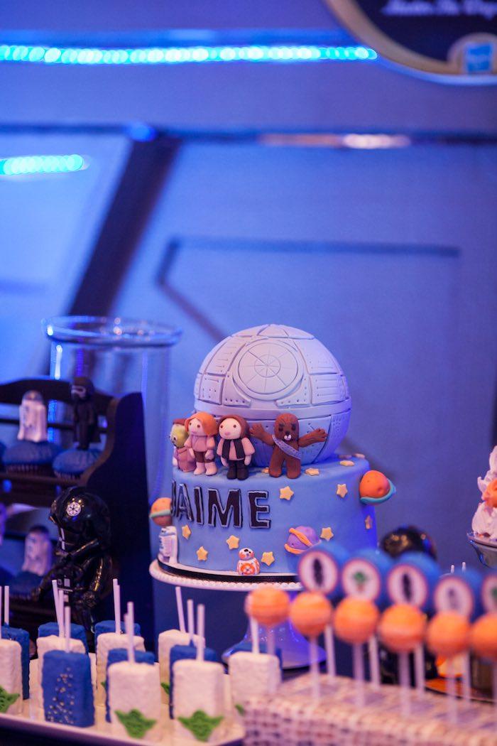 Death Star birthday cake from a Star Wars Birthday Party via Kara's Party Ideas | KarasPartyIdeas.com (14)