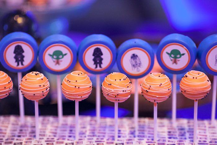 Cake pops + chocolate covered Oreos from a Star Wars Birthday Party via Kara's Party Ideas | KarasPartyIdeas.com (8)