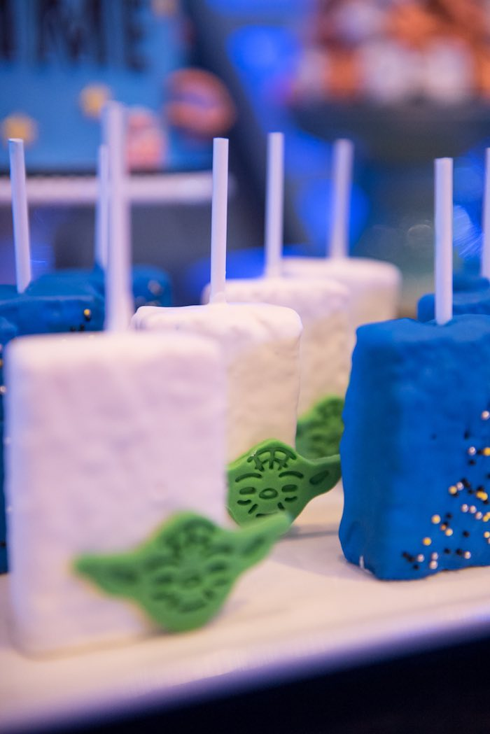 Rice Krispie treats from a Star Wars Birthday Party via Kara's Party Ideas | KarasPartyIdeas.com (3)