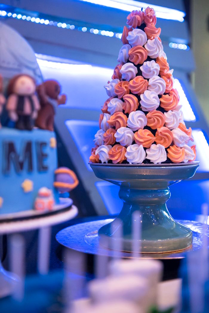 Meringue tower from a Star Wars Birthday Party via Kara's Party Ideas | KarasPartyIdeas.com (2)