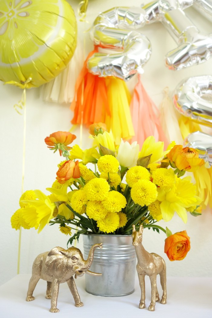 Floral arrangement from a Summer Lemonade Party via Kara's Party Ideas | KarasPartyIdeas.com (11)