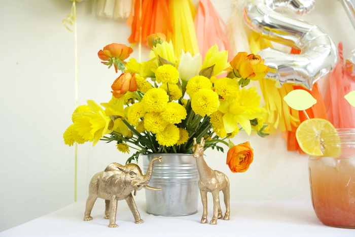 Table decor from a Summer Lemonade Party via Kara's Party Ideas | KarasPartyIdeas.com (10)