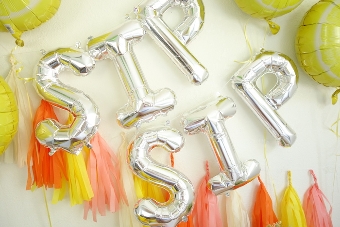 Mylar letter balloon banner from a Summer Lemonade Party via Kara's Party Ideas | KarasPartyIdeas.com (6)