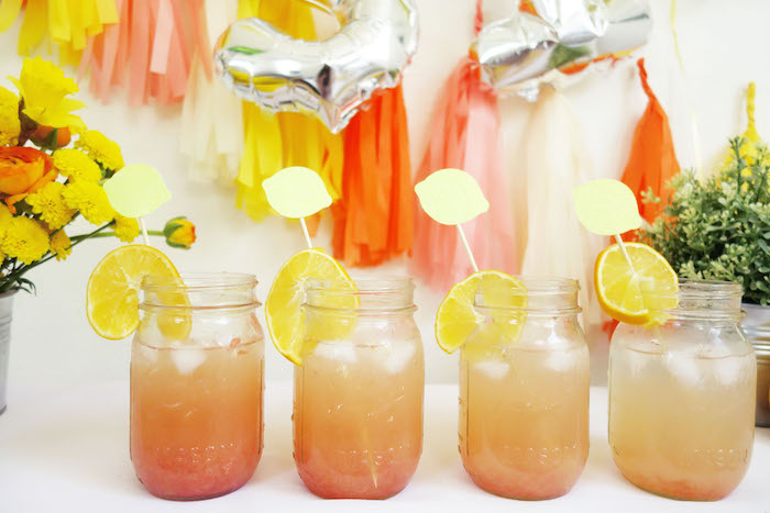 Mason jar drinks from a Summer Lemonade Party via Kara's Party Ideas | KarasPartyIdeas.com (15)