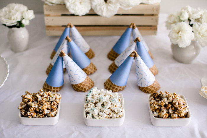 Cones + flavored popcorn from a Sweet Baby Ice Cream Baby Shower via Kara's Party Ideas KarasPartyIdeas.com (21)