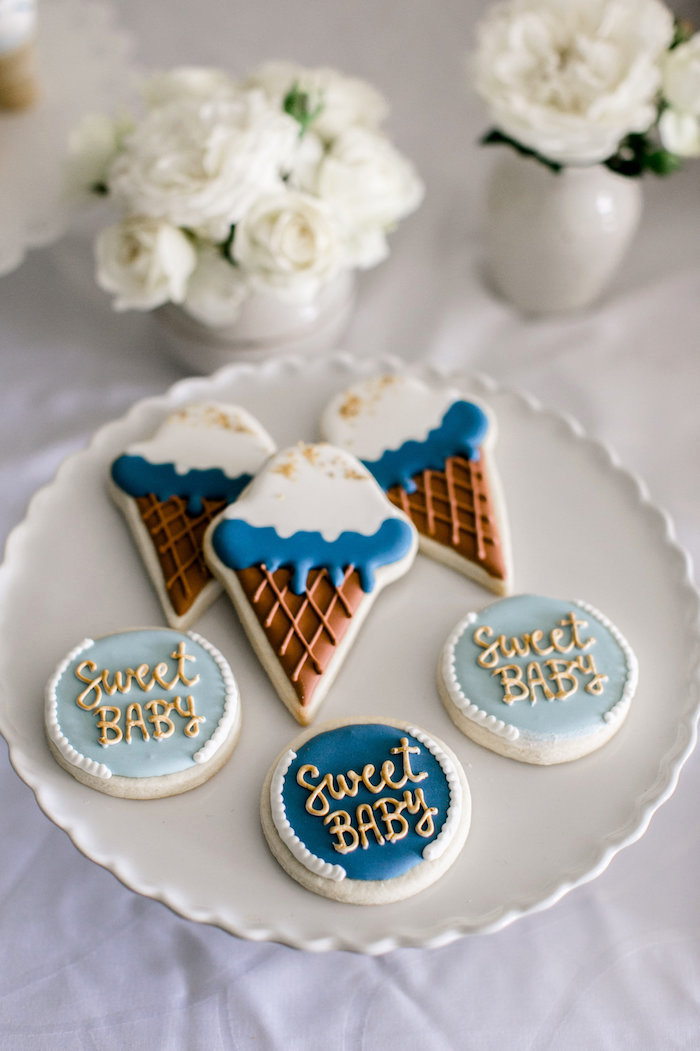 Cookies from a Sweet Baby Ice Cream Baby Shower via Kara's Party Ideas KarasPartyIdeas.com (20)