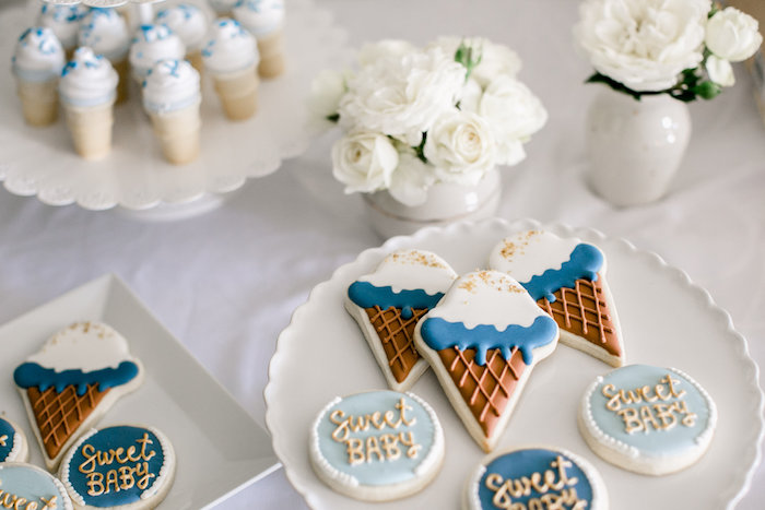Cookies from a Sweet Baby Ice Cream Baby Shower via Kara's Party Ideas KarasPartyIdeas.com (19)